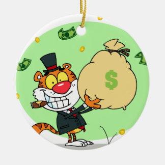 Happy Tiger Rolling in the Money Ceramic Ornament