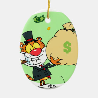 Happy Tiger Rolling in the Money Ceramic Oval Decoration