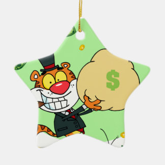 Happy Tiger Rolling in the Money Ceramic Star Decoration