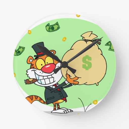 Happy Tiger Rolling in the Money Round Wallclocks
