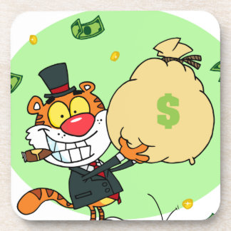 Happy Tiger Rolling in the Money Beverage Coaster