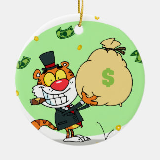 Happy Tiger Rolling in the Money Christmas Tree Ornaments
