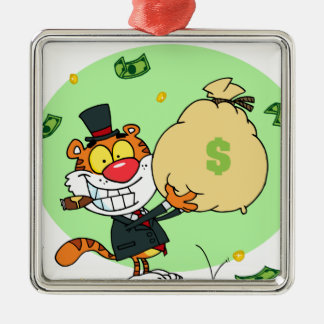 Happy Tiger Rolling in the Money Christmas Ornaments