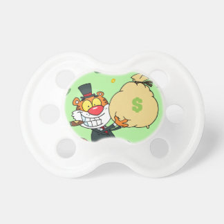 Happy Tiger Rolling in the Money Pacifier