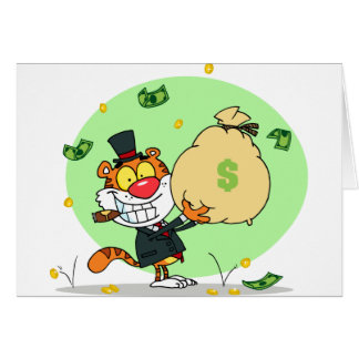 Happy Tiger Rolling in the Money Greeting Card