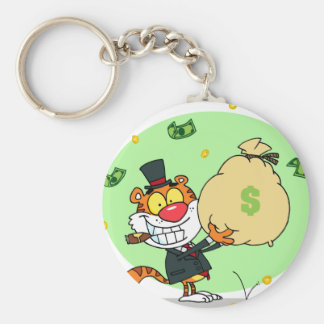 Happy Tiger Rolling in the Money Keychains