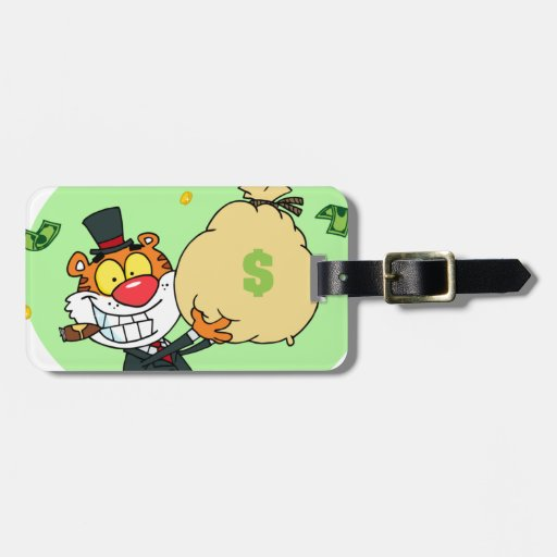 Happy Tiger Rolling in the Money Tag For Luggage