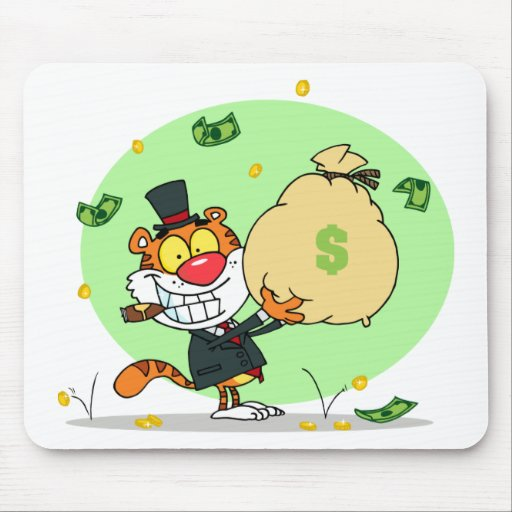 Happy Tiger Rolling in the Money Mouse Pad