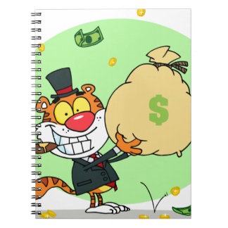 Happy Tiger Rolling in the Money Spiral Note Book