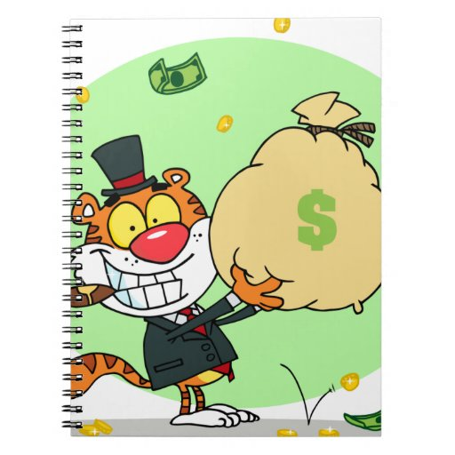 Happy Tiger Rolling in the Money Spiral Note Books