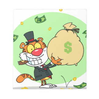 Happy Tiger Rolling in the Money Notepad