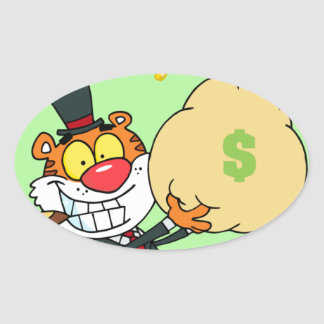 Happy Tiger Rolling in the Money Oval Sticker