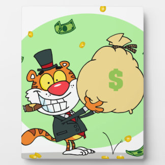 Happy Tiger Rolling in the Money Photo Plaques