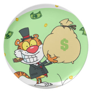 Happy Tiger Rolling in the Money Plate