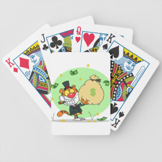 Happy Tiger Rolling in the Money Bicycle Poker Deck