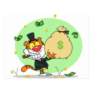 Happy Tiger Rolling in the Money Postcard
