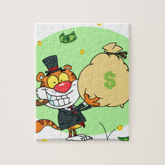 Happy Tiger Rolling in the Money Jigsaw Puzzles