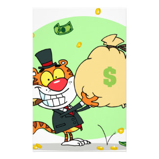 Happy Tiger Rolling in the Money Stationery Paper