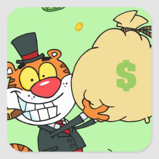 Happy Tiger Rolling in the Money Square Sticker