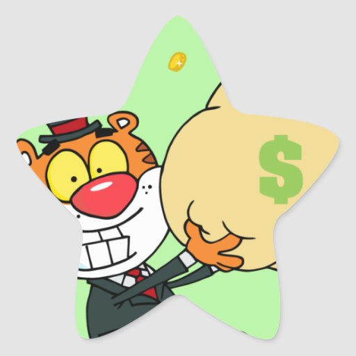 Happy Tiger Rolling in the Money Stickers