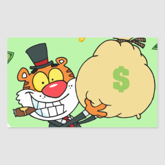 Happy Tiger Rolling in the Money Rectangle Stickers