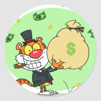 Happy Tiger Rolling in the Money Round Sticker