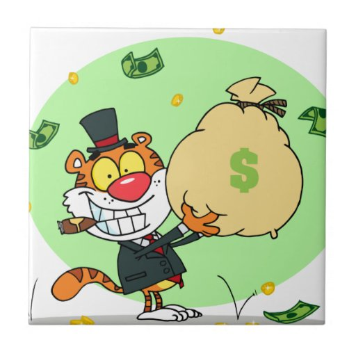 Happy Tiger Rolling in the Money Tile