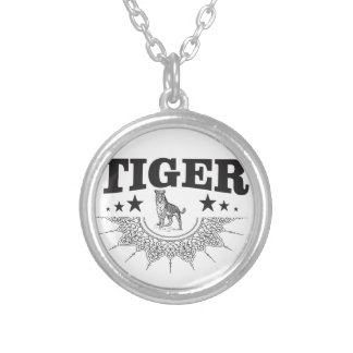 happy tiger silver plated necklace