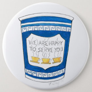 Happy To Serve You NYC Blue Greek Diner Coffee Cup 6 Cm Round Badge