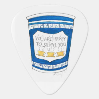 Happy to Serve You NYC Greek Diner Coffee Cup Guitar Pick