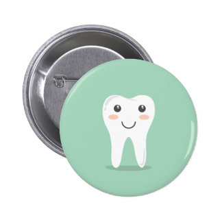 Happy Tooth cartoon dentist brushing toothbrush 6 Cm Round Badge