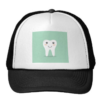 Happy Tooth cartoon dentist brushing toothbrush Cap