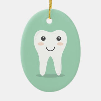 Happy Tooth cartoon dentist brushing toothbrush Ceramic Oval Decoration