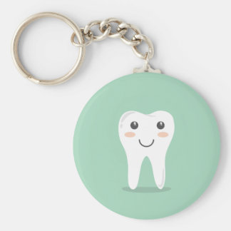 Happy Tooth cartoon dentist brushing toothbrush Key Ring
