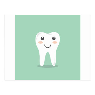 Happy Tooth cartoon dentist brushing toothbrush Postcard