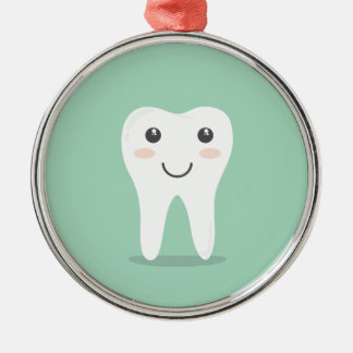 Happy Tooth cartoon dentist brushing toothbrush Silver-Colored Round Decoration