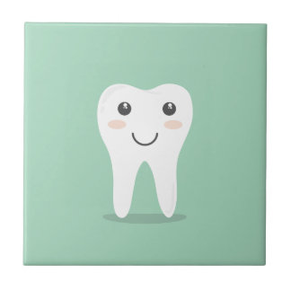 Happy Tooth cartoon dentist brushing toothbrush Small Square Tile