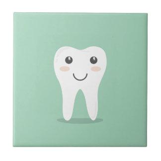 Happy Tooth cartoon dentist brushing toothbrush Tile