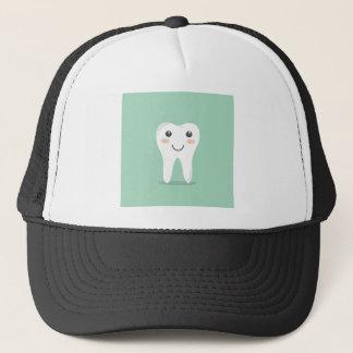 Happy Tooth cartoon dentist brushing toothbrush Trucker Hat