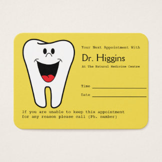 Happy Tooth Dentist Appointment Reminder Yellow