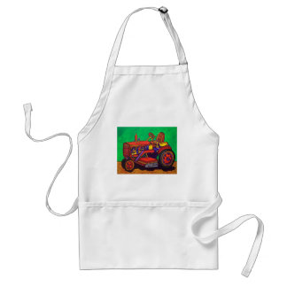 Happy Tractor by Piliero Adult Apron