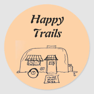 Happy Trails  camper Classic Round Sticker