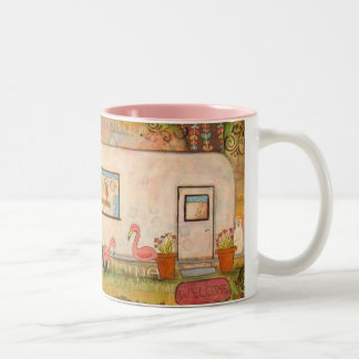 Happy Trails Vintage Travel Trailer Two-Tone Coffee Mug