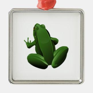 Happy Tree Frog Metal Ornament