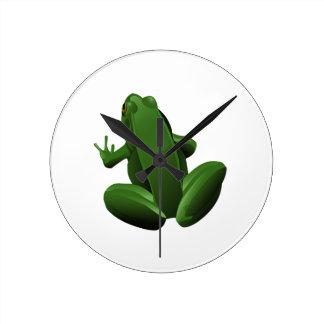 Happy Tree Frog Round Clock