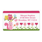 Happy Tree Owls/Birds/Flowers Address Labels