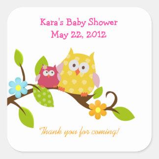 Happy Tree Owls Woodland SQUARE Favor Sticker