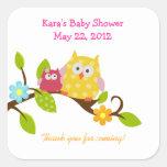 Happy Tree Owls Woodland SQUARE Favour Sticker