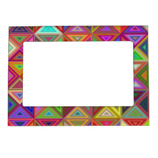 Happy triangle mosaic photo frame magnets