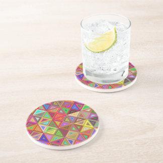Happy triangle mosaic sandstone coaster